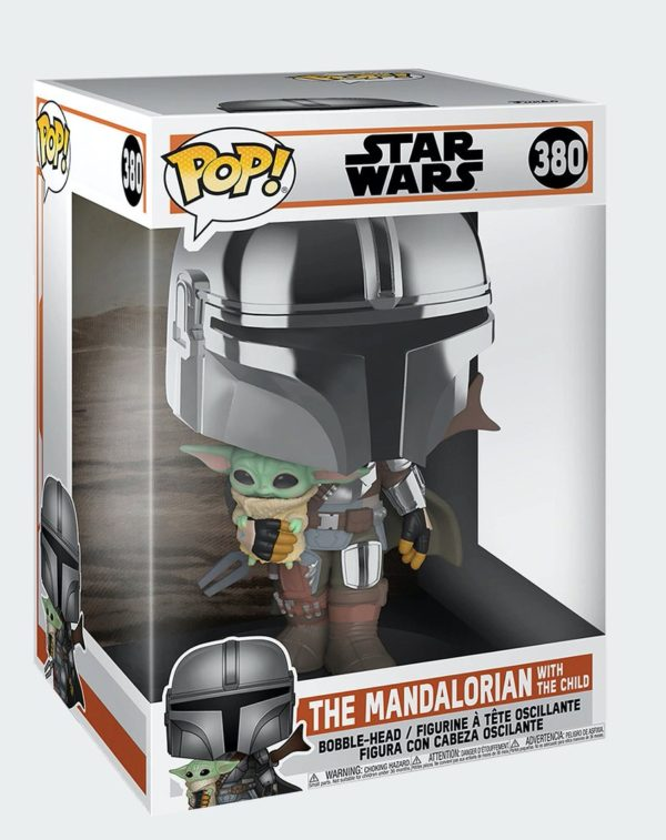 Funko Pop Star Wars The Mandalorian with child n.380 Super Size