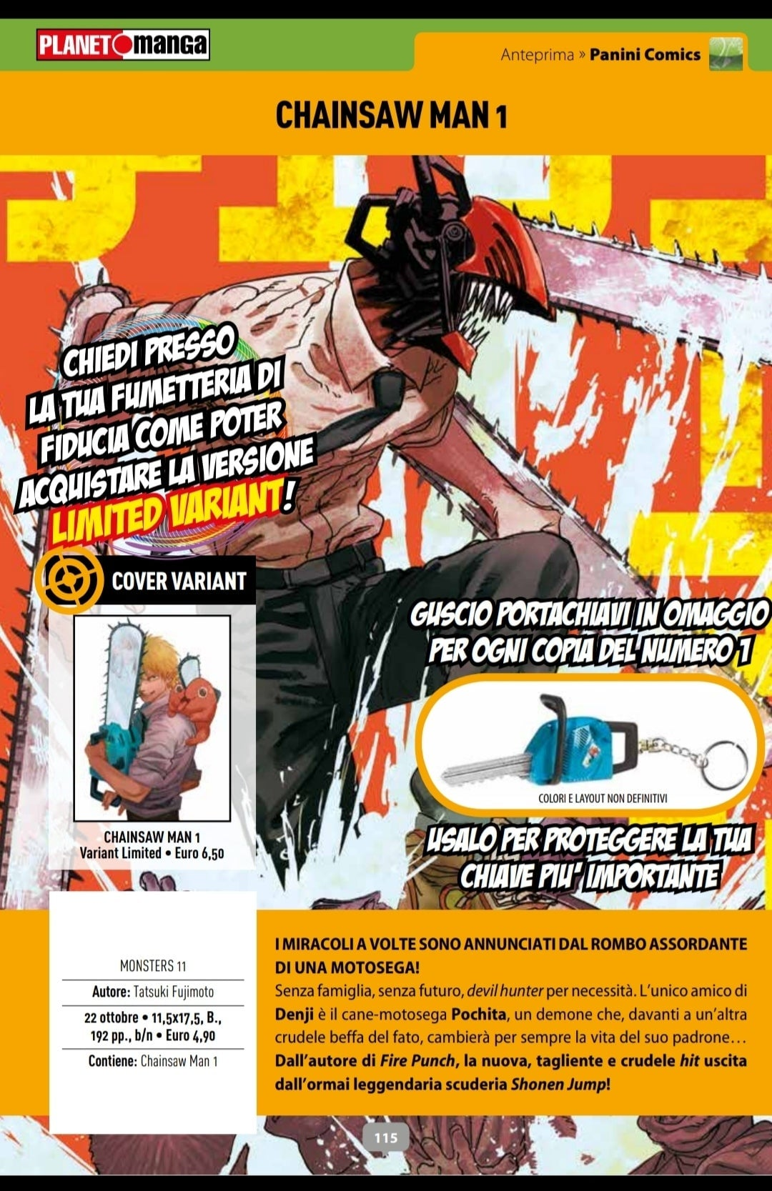 chainsaw man numero uno omaggio portachiavi ottobre 2020